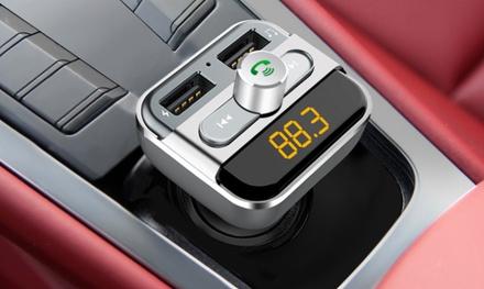 1 ou 2 kits mains libres Bluetooth pour voiture 3 en 1 avec transmetteur de musique